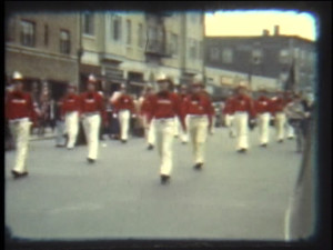 Hose Company members march in 1940.