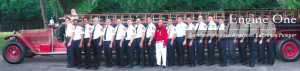 "This digitally ""stretched"" image of Engine One was used for a portrait of Larchmont Fire Department volunteers in 2005."